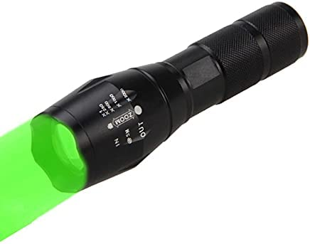 Green Flashlight Hunting Light Rechargeable LED Tactical Flashlights Zoomable 350 Yards Waterproof for Night Vision Fishing Pig Hog Coyote Fox Hunter Varmint Predator Outdoor (Battery not Included)