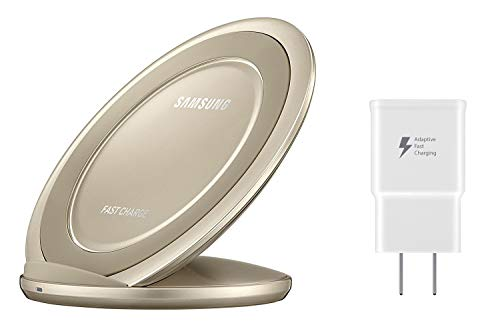 - Samsung Qi Certified Fast Charge Wireless Charging Pad + Stand - Supports wireless charging on Qi compatible smartphones - Gold