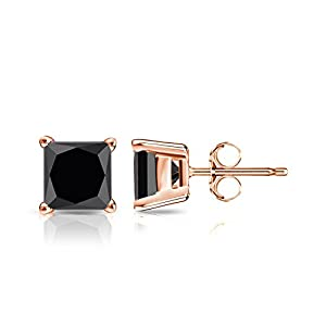 14k Rose Gold Princess-cut Black Diamond 4-Prong Basket Stud Earrings (3 ct, Black)