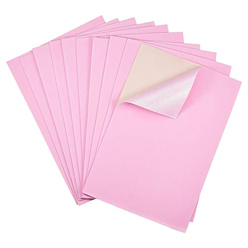 BENECREAT 20PCS Velvet (PearlPink) Fabric Sticky Back Adhesive Back Sheets, A4 Sheet (8.3