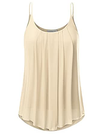 JJ Perfection Women's Pleated Chiffon Layered Cami Tank Top Beige S