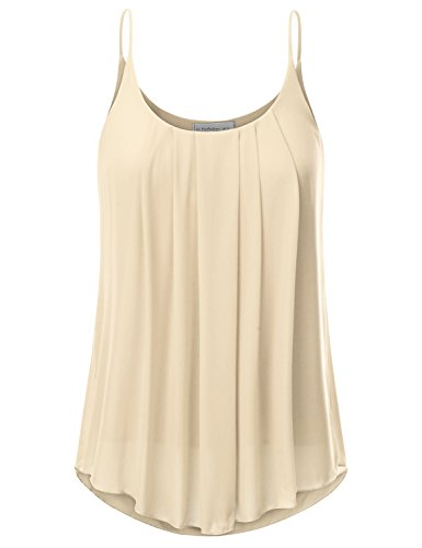 JJ Perfection Women's Pleated Chiffon Layered Cami Tank Top Beige XL