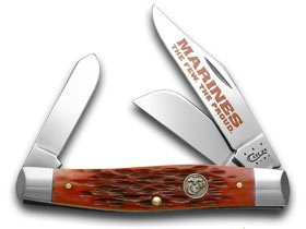 Red Stockman Jigged (CASE XX Red Jigged Bone Marines The Few The Proud Stockman Pocket Knife Knives)