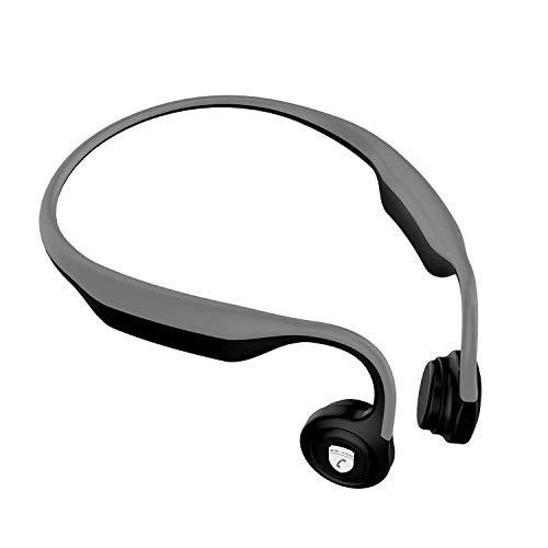 Wireless Bone Conduction Headphones Bluetooth Wireless Open-Ear Richer Bass HiFi Stereo Headset w/Mic Noise Cancelling Waterproof Earphones weatproof for PC/Cell Phones/TV Gym Runing-Gray (Gray)