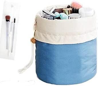 Travel Waterproof Cosmetic Bags Makeup Bag Travel Barrel Cases Kit Organizer Bathroom Storage Carry Case Toiletry Bags Multifunctional Bucket Toiletry Bag Polyester,Blue
