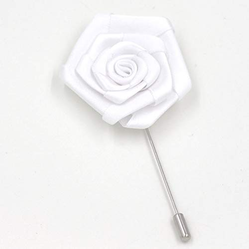 1Piece Fashion Best Man Groom Boutonniere White Color Ribbon Rose Party Prom Men Suit Buttonhole Brooch Pin Flower