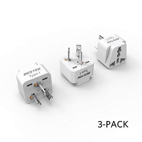 BESTEK Grounded Universal Plug Adapter USA to Australia, China Travel Plug Adapter Plug Kit for Australia, China (Type I) - 3 Packs