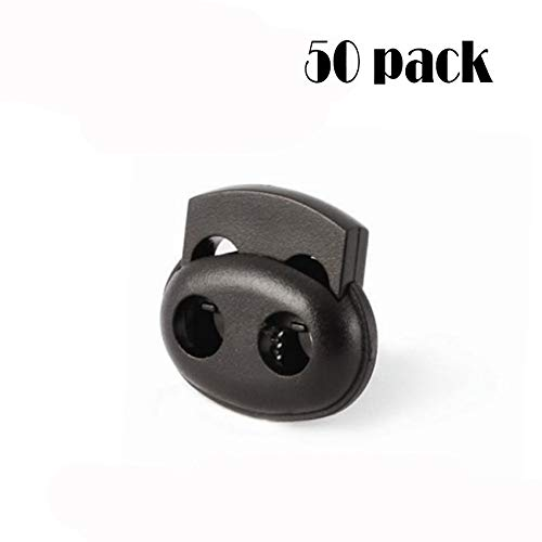 DLOnline 50 Pieces Plastic Cord Lock End Toggle,Double Hole Plastic Cord Locks End Spring Stop Toggle Stoppers,Double Hole Spring Stopper Fastener Slider Toggles End