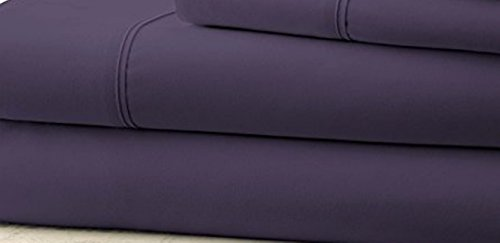 Hotel 1800 Comfort Count Deep Pocket 4 Piece Bed Sheet Set Purple (King Clipart)