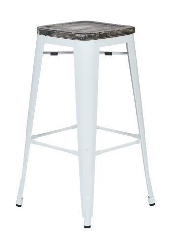 Office Star Bristow 30-Inch White Metal Frame Barstool with Vintage Wood Seat, Ash Crazy Horse, 4-Pack