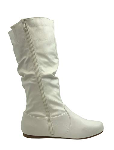 Womens Low Collection Under Heel to Boots High Wonda Slouchy Knee Flat Wells Soft White R4wgq85w