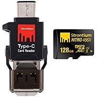 Strontium Nitro 128GB MicroSDXC UHS-I Memory Card with Type-C Card Reader Up to 70MB/s (SRN128GTFU1P)