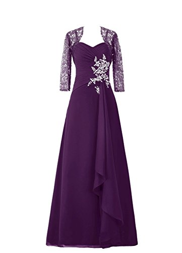 SDRESS Women's Crystals 3/4 Sleeve Wrap Sweetheart Long Mother Bridesmaid Dress Grape Size 20