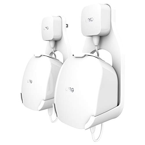 Wall Mount Holder for eero mesh WiFi System, The Simplest Wall Mount Holder Stand Bracket for eero mesh WiFi System Router No Messy Screws! (White(2 Pack))