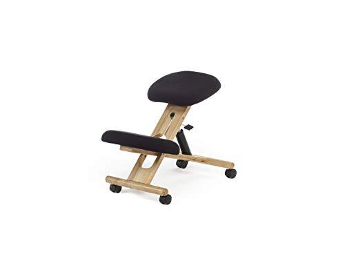 duehome - Silla de Oficina Ergonomica, silla de Escritorio, color Negro y Madera de haya, Medidas: 46 cm (Ancho) x 68 cm (Fondo) x 52-62 cm (Alto)