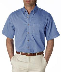 Ultraclub Mens Short-Sleeve Cypress Denim with Pocket 8965 -Light Blue 2XL (Ultraclub Woven Shirts)