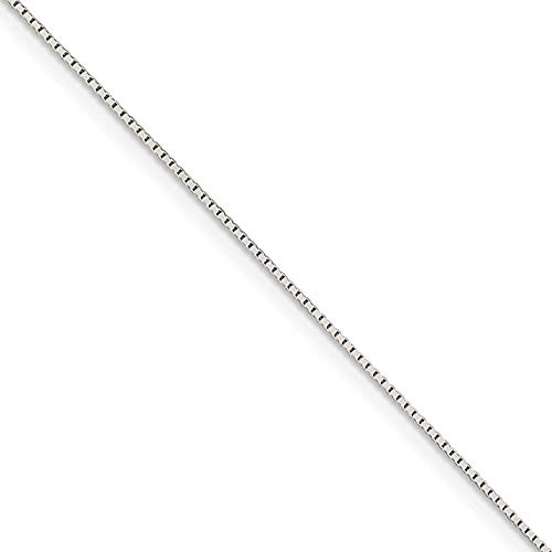 0.6mm, Sterling Silver Diamond Cut Mirror Box Chain Necklace, 18 Inch