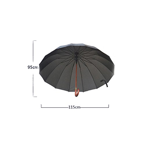 RYYAIYL Windproof Reinforced Umbrella Rainstorm Dedicated, Easy to Carry Non-Slip Solid Wood Handle Umbrella (Color : Brown)