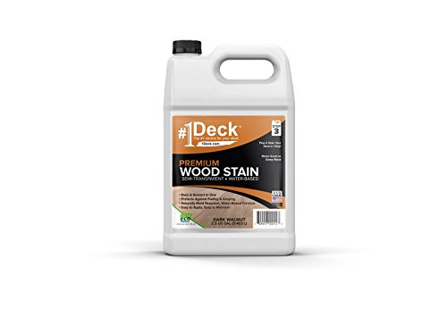 #1 Deck Premium Wood Stain for Decks, Fences, Siding (2.5 Gallon, Dark Walnut) by #1 Deck