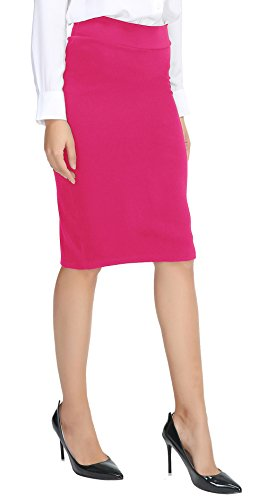 Urban CoCo Women's Elastic Waist Stretch Bodycon Midi Pencil Skirt (S, - Cotton Skirt Pink