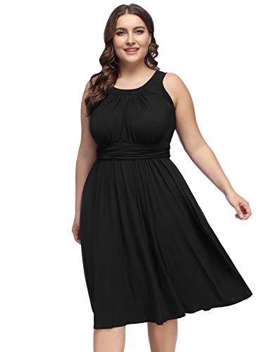 - Hanna Nikole Women's Plus Size Casual Sleeveless Gathered Dress 22W Black