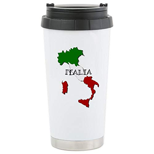 CafePress Italy Flag Map Stainless Steel Travel Mug, Insulated 16 oz. Coffee Tumbler