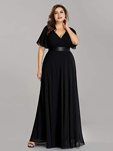 Ever-Pretty Women's Plus Size Double V-Neck Evening Party Maxi Dress 09890