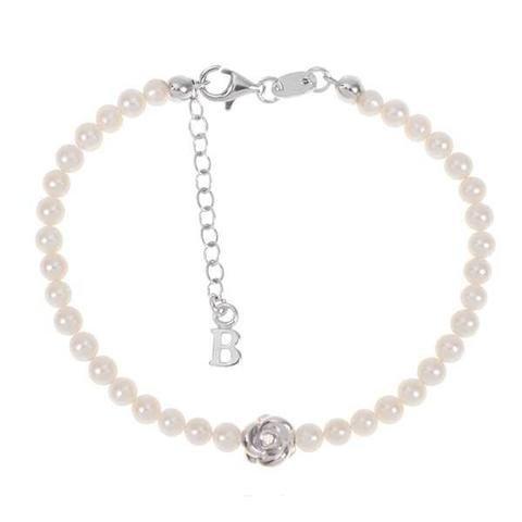 Boccadamo Bracelet avec fil de perles naturelles, Rose centrale et diamant