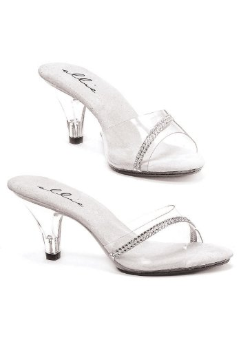 Ellie Shoes Womens 3 Inch Hak Clear Mule With Rhinestones Clear