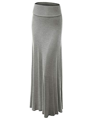 Lock and Love WB670 Womens Fold-Over Maxi Skirt M Heather_Grey - Waist Skirt Over Fold