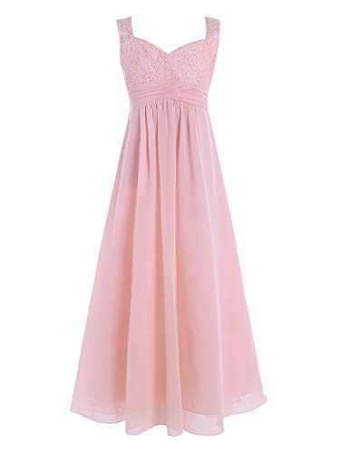 CHICTRY Youth Big Girls Junior Chiffon Lace Wedding Party Bridesmaid Ball Gown Maxi Long Flower Dress Pearl Pink 12