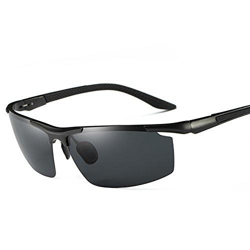 negro de reborde 9 gafas sin colores estilo Guía sol aluminio gafas de UV400 gafas TIANLIANG04 Mens polarizadas de Black Black macho polarizadas Gafas UtfwnqRYx