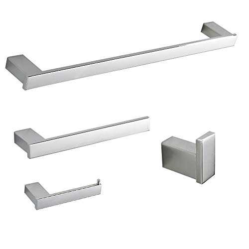 BESy 4 Pieces Bathroom Hardware Accessories Set Stainless Steel with 24 Inch Towel Bar, 10 Inch Towel Bar, Toilet Paper Holder, Towel Hook,Wall Mounted Hotel Style Bath Fixtures Set, Polished Chrome ()