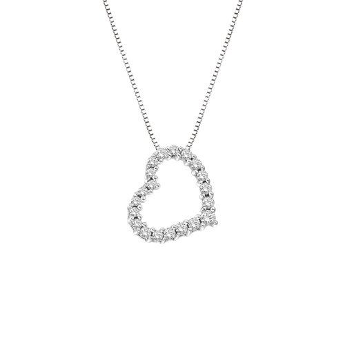 14k White Gold Diamond 1/2″ Floating Heart Pendant (1/4 cttw, H-I Color, SI2-I1 Clarity), 18″