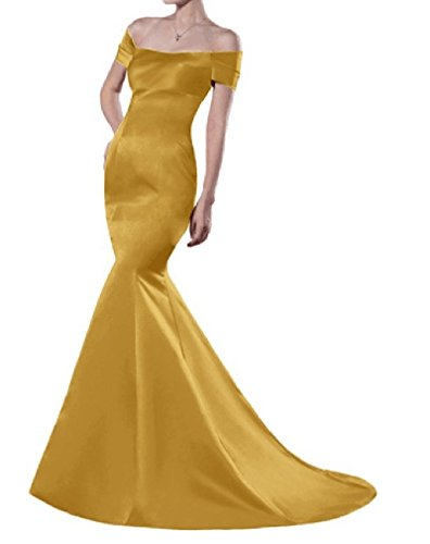 Gold Short Mermaid Formal Strapless ANGELA Women's Long Sleeves Evening Dresses PxAygqwCz