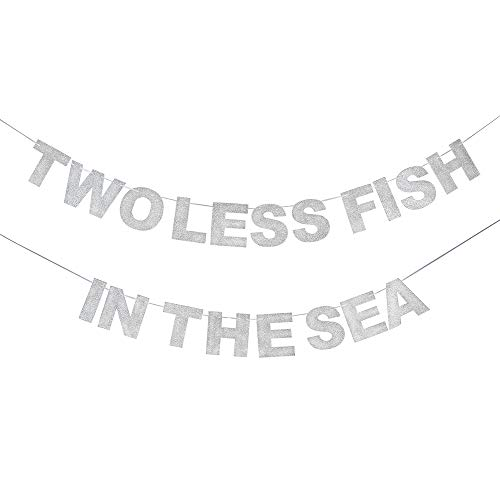 - Two Less Fish in The Sea Silver Glitter Banner Rustic Wedding Couple Shower Bachelorette Party Sign Hanging Decoration.