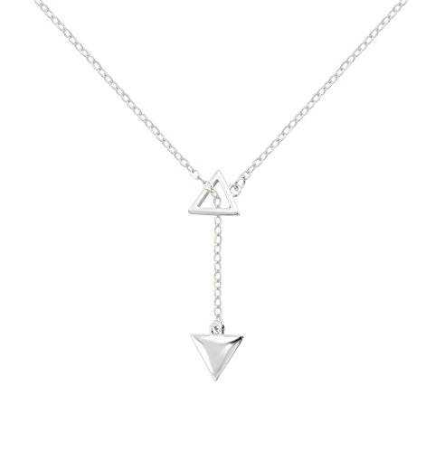 KristLand 925 Silver Adjustble SS Necklace Simple Design Double Form Pendant Delicate Chocker Double Triangle -