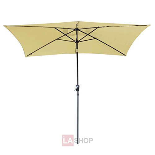 10'x6.5' Solar Aluminum Rectangle Outdoor Beach Market Tilt Patio Polyester Umbrella Power 20 LED Light Beige for Protective UV Sun Shade Relaxing