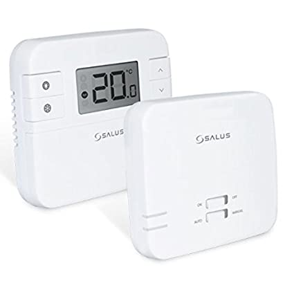 Termostato digital de la marca Salus, RT310RF, con radio frecuencia, inalámbrico, con