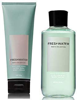 Bath and Body Works Men's Collection Freshwater 2 in 1 Hair and Body Wash 10 Oz and Body Cream 8 Oz.