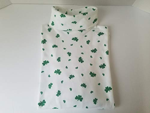 Cotton Interlock Print Turtleneck (Irish American Gifts Shamrock Print Turtleneck (Large) White)