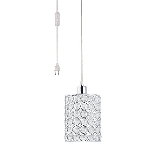 Globe Electric Angelica 1 Light Cylindrical Plug In Pendant  Chrome Finish  Caged Crystal Shade  Clear 15 Cord  In Line On Off Rocker Switch  65142
