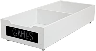 "Homz Long Underbed Wood Storage with Chalkboard Label Front, 7"" x 34.2"" x 14.5"", Casters Included, White Finish"
