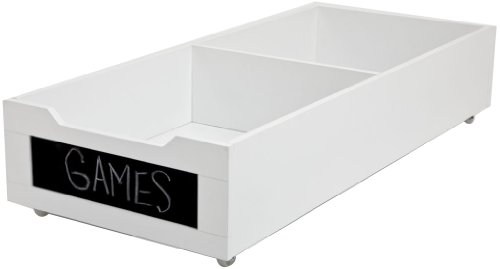 Wood Underbed Storage - HOMZ Long Underbed Wood Storage w/Chalkboard Label Front, Casters, White Finish