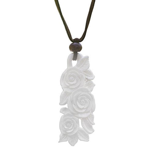 NOVICA Hand Carved Cow Bone Flower Pendant Necklace on Faux Suede Cord, 'Rose Bouquet', 19.75 - 29