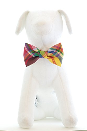 Colorful Summer Plaid - Hand Stitched Bow Tie Collar Accessory for Dog Cat ()