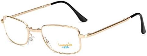 老眼鏡男性、折りたたみ老眼鏡、メガネケース付き、エレガントでスタイリッシュな長方形の老眼鏡(シルバー)