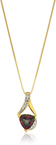 Sterling Silver Trillion-Cut Mystic Fire Topaz and Diamond Accent Pendant Necklace, ()
