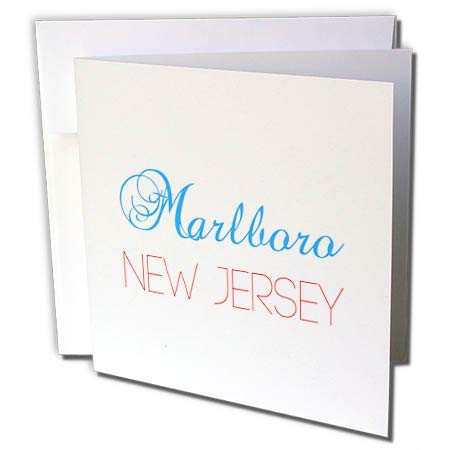 3dRose Alexis Design - American Cities New Jersey - Marlboro, New Jersey, red, Blue Text. Patriotic Home Town Design - 12 Greeting Cards with envelopes (gc_300863_2)