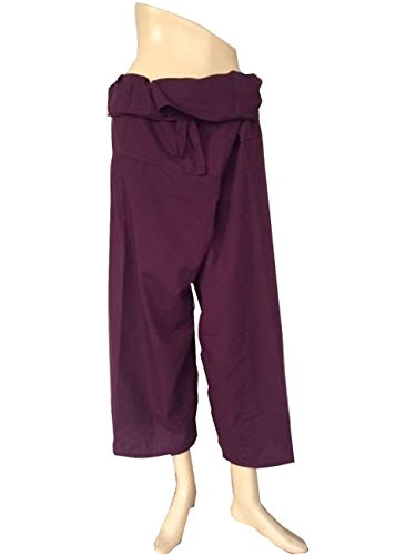 Beautiful Rayon Fabric Yoga Trousers Thai Fisherman Pants Free Size Burgundy Color by Thai cotton